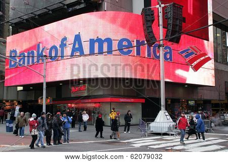NEW YORK - DEC 30: Pedestrians walk past a Bank of America branch in Times Square in New York City, New York, on Wednesday,  December 30, 2009.