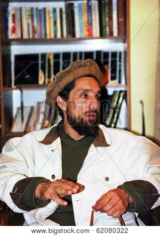 KABUL, AFGHANISTAN - OCT 20: Famed Mujaheddin fighter Ahmad Shah Massoud speaks to journalists in his headquarters  north of Kabul, Afghanistan on Sunday, October 20, 1996.