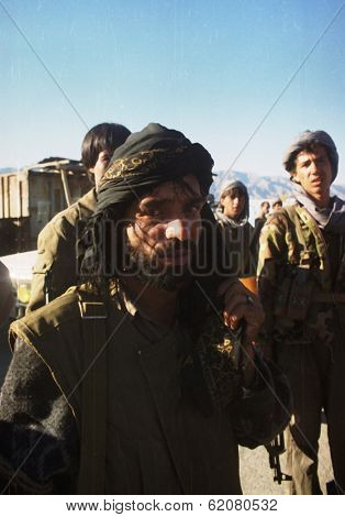 KABUL, AFGHANISTAN - OCTOBER 21: Northern Alliance fighters prepare for battle with Taliban forces north of Kabul, Afghanistan on Monday, October 21, 1996