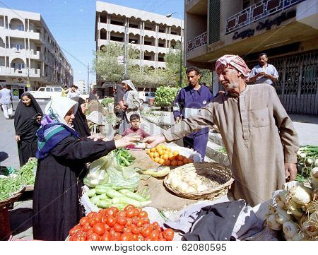 BAGHDAD, IRAQ - MARCH 11:  Although Iraq has been under an international embargo for its invasion of Kuwait in 1990, fresh food remains plentiful at all of Baghdad's outdoor markets on March 11, 1999 in Baghdad, Iraq.