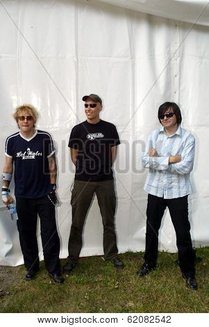 BUDAPEST, HUNGARY - AUGUST 10: Die Aerzte (Die Arzte)   at the annual Sziget music festival in Budapest, Hungary. From left, drummer Bela B., guitarist Farin Urlaub and bassist Rod Gonzales on August 10, 2004 in Budapest, Hungary