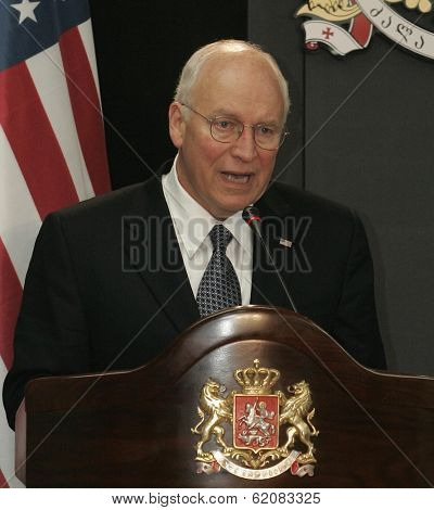 TBILISI, GEORGIA - AUGUST 4: United States Vice President Dick Cheney speaks after a meeting with Georgian President Mikhail Saakashvili at the presidential palace in Tbilisi, Georgia, on Thursday, August 4, 2008.