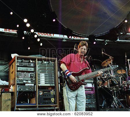 WASHINGTON, D.C. - JUNE 20: The Grateful Dead in concert in Washington, D.C., on Saturday, June 20, 1992.  Seen here is bassist Phil Lesh.