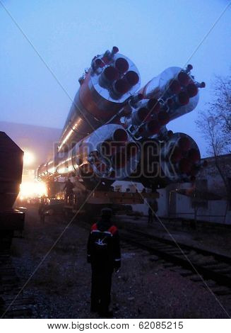 BAIKONUR COSMODROME - OCTOBER 29:  The Soyuz TM-31 rocket on its way to the launchpad at the Russian Cosmodrome in central Kazakhstan on October 29, 2000.