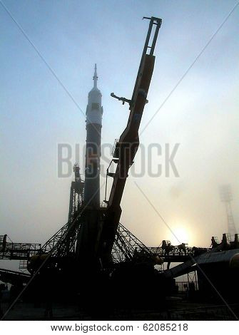 BAIKONUR COSMODROME - OCTOBER 29:  The Soyuz TM-31 rocket on  the launchpad at the Russian Cosmodrome in central Kazakhstan on October 29, 2000.