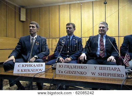 BAIKONUR COSMODROME - OCTOBER 31: Atronauts  Cmdr. William Shepherd, Lt. Col. Yuri Gidzenko and Sergei Krikalev at the Baikonur Cosmodrome in Kazakhstan on October 31, 2000.