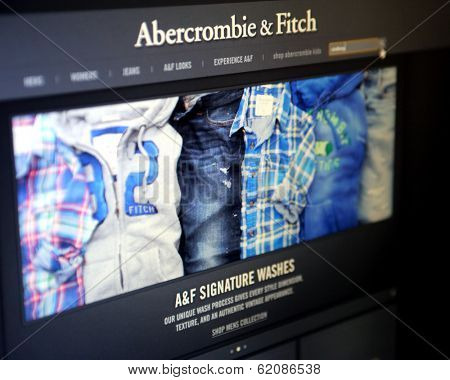 NEW YORK CITY - AUG 30, 2013: The website of American clothing retailer Abercrombie & Fitch. A&F is a leading retailer of sportswear and lifestyle clothing.