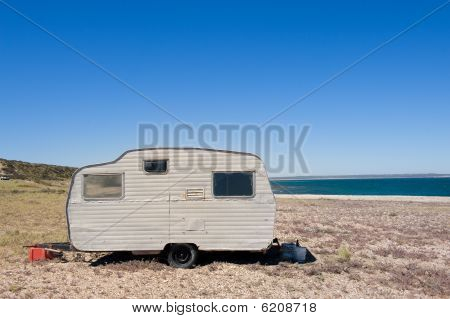 Lonely Trailer By The Shore.