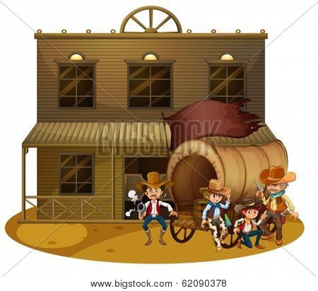 Illustration of the Western people outside the wagon on a white background
