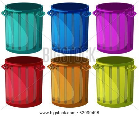 Illustration of the colorful trashbins on a white background