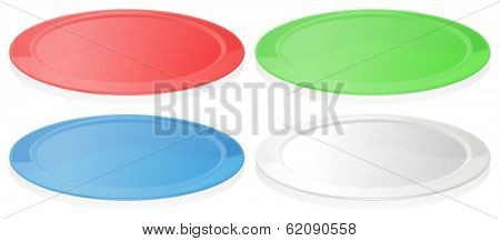 Illustration of the colorful plates on a white background