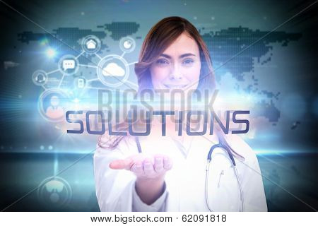 The word solutions and portrait of female nurse holding out open palm against futuristic technology interface poster