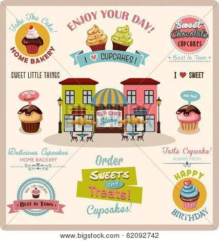Collection of Cupcake Design Elements.Vector Illustration