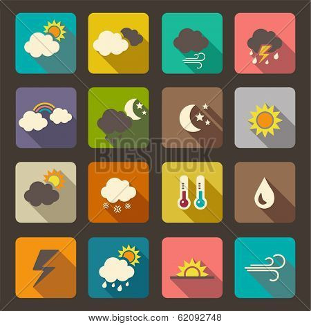 Flat weather icon vector set.