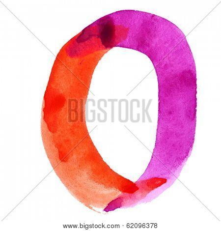 Zero - Colorful watercolor alphabet