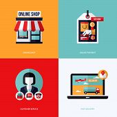 Flat vector design with e-commerce and online shopping icons and elements. Conceptual illustrations of online shop online payment customer service and delivery poster