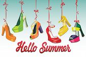 Set of Colorful fashion women's shoes,open shoes,High heel shoes ,gorgeous shoes,open toe shoes hang on a ribbon.Hello summer background.Casual and festive.Fashion illustration,vector poster
