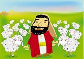 a good shepherd and his flock of sheeps poster