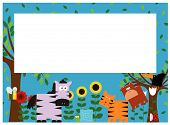 an illustration of a border with many cute animals design poster