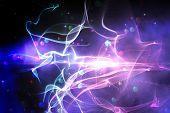 Digitally generated laser background on black background poster
