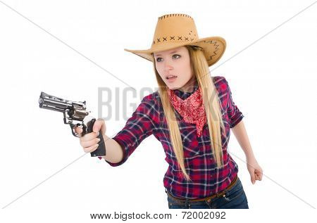 Cowgirl woman with gun isolated on white