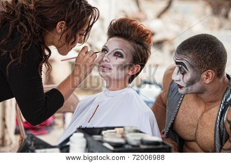 Makeup Artist Working Backstage