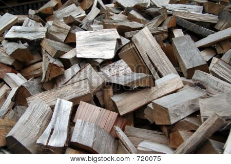 Chopped wood in a pile