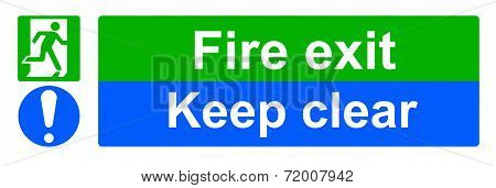 A Fire exit and keep clear sign poster