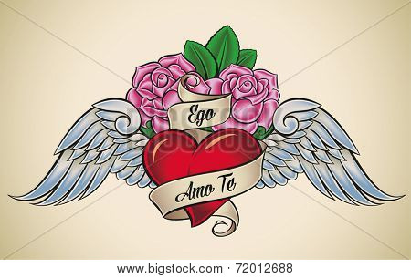 Old-school styled tattoo of a red heart, pink roses and blue wings. The motto Ego Amo Te means I Love You in Latin. Raster illustration. poster