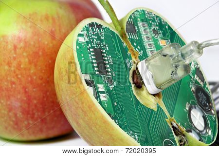 Apple with technology core