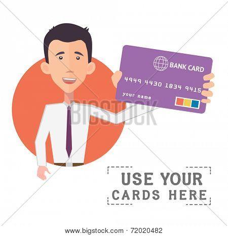 businessman holding a bank card - flat design vector