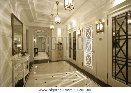 interior of a corridor in house filled in with light