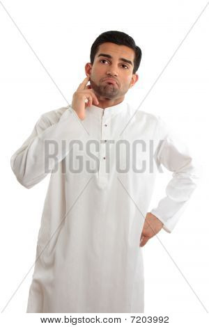 Worried Troubled Ethnic Man Wearing A Kurta
