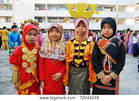 Adorable Children of Malaysia in multiracial traditional cosumes