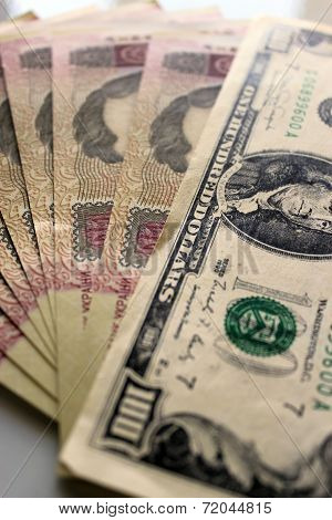 A Hundred Dollars Laying On The Ukrainian Grivnas