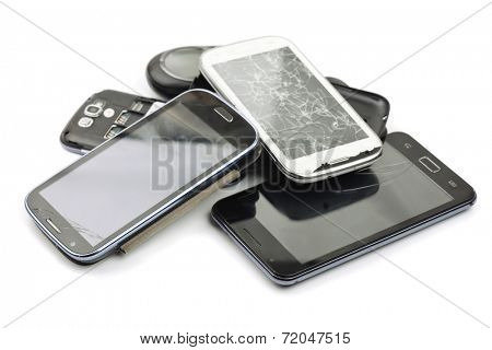 Pile of broken smart phones
