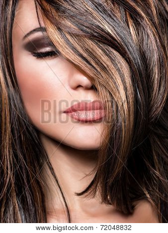 poster of Closeup portrait of stylish gorgeous super model, beautiful makeup and glossy brown hair, luxury hairstyling salon