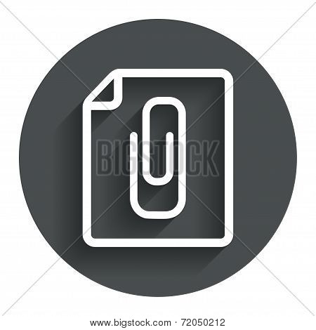 File annex icon. Paper clip symbol. Attach symbol. Circle flat button with shadow. Modern UI website navigation. Vector poster