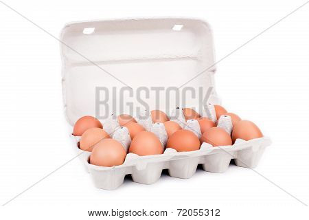 Eggs In Cardboard Packaging Isolated On White Background