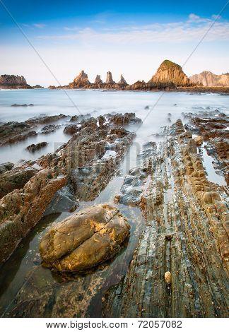 Gueirua Beach In Asturias, Spain.
