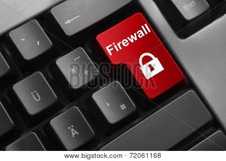 Keyboard Red Button Firewall Lock  Symbol