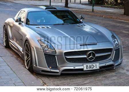 Silver metallic Mercedes-Benz SLS FAB Design roadster