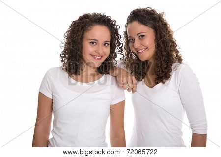 Real twin sisters: Portrait of two smiling isolated young woman with natural curls. poster