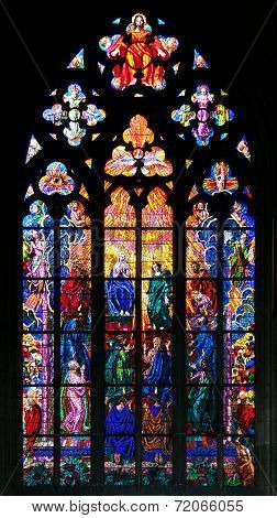 Stained-glass window in St Vit Cathedral Prague poster