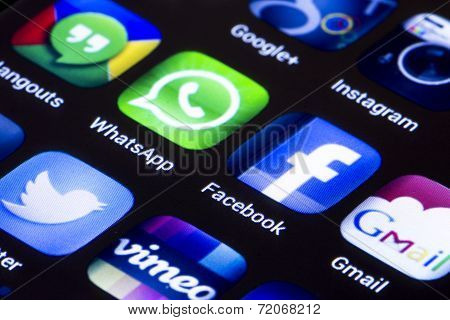 Belgrade - June 23, 2014 Popular Social Media Icons Whatsapp Facebook And Other On Smart Phone Scree