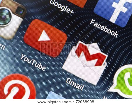 Belgrade - April 26, 2014 Popular Social Media Icons Youtube, Gmail And Other On Smart Phone Screen