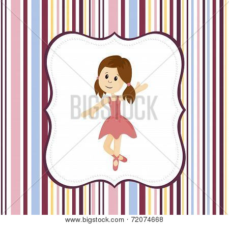 Cute Ballerina Girl With Label Frame On A Stripey Background