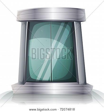 Cartoon Scifi Iron Elevator Door