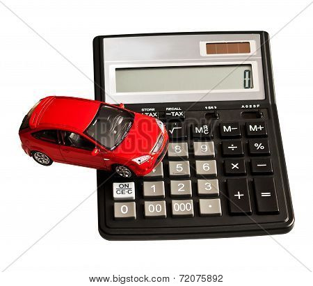 Toy Car And Calculator. Concept For Buying, Renting, Insurance, Fuel, Service And Repair Costs
