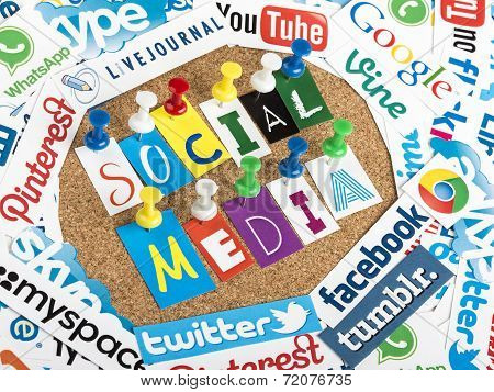 Belgrade - June 13, 2014 Social Media Words Made From Letters Pinned To A Cork Bulletin Board And So